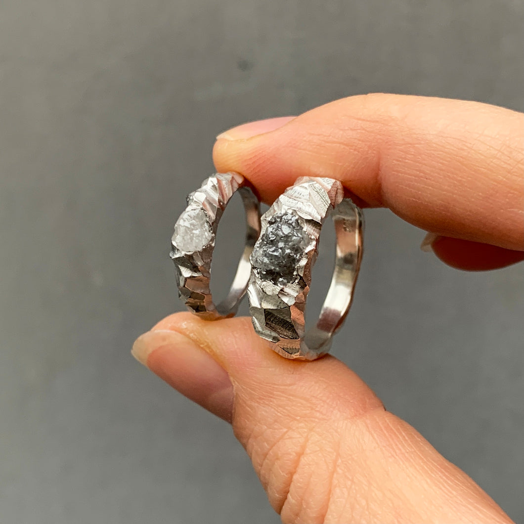 Bespoke wedding rings with raw diamonds