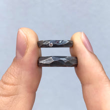 Load image into Gallery viewer, Bespoke wedding bands in oxidized silver