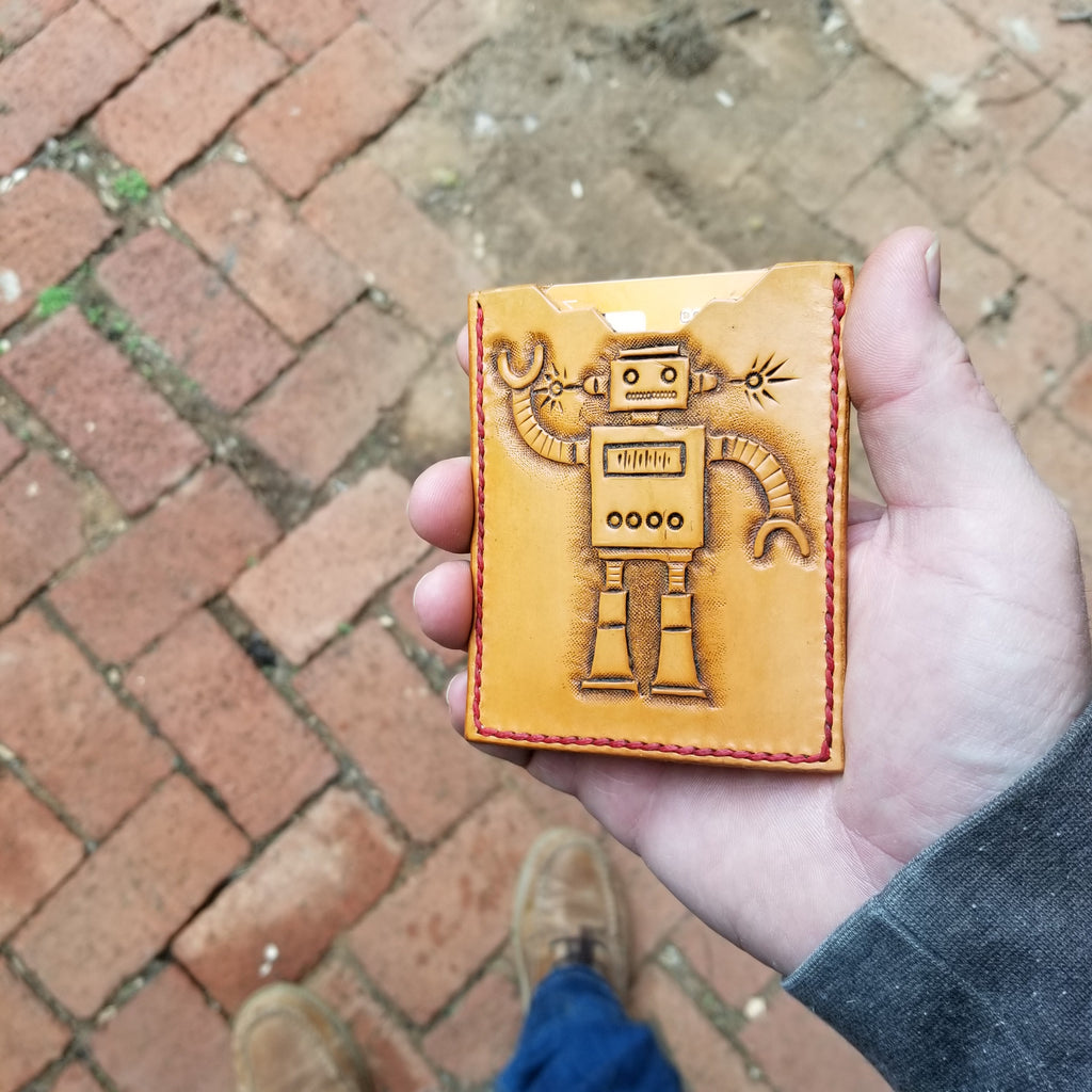 Retro Robot Slim Leather Wallet