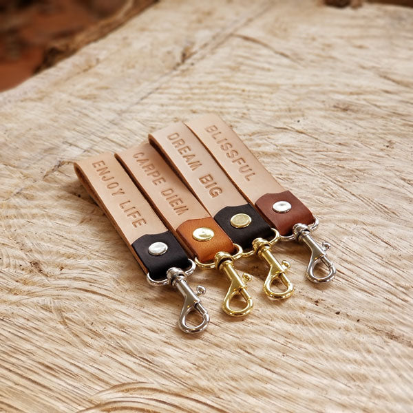 Personalized Leather Keychain with Brass or Nickel Clip