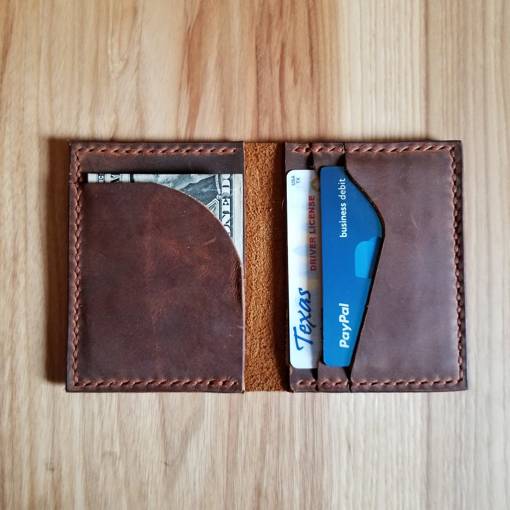 Rusty Brown Leather Bifold Wallet