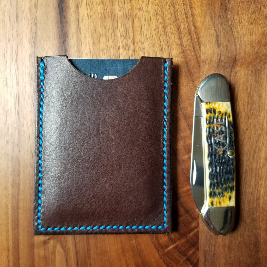 Chocolate Brown Leather Card Wallet with Blue Thread