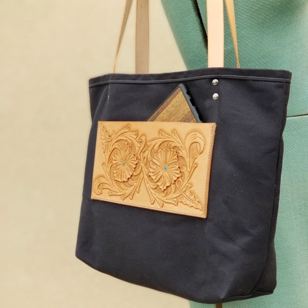 Black Canvas Tote with Leather Pocket and Straps