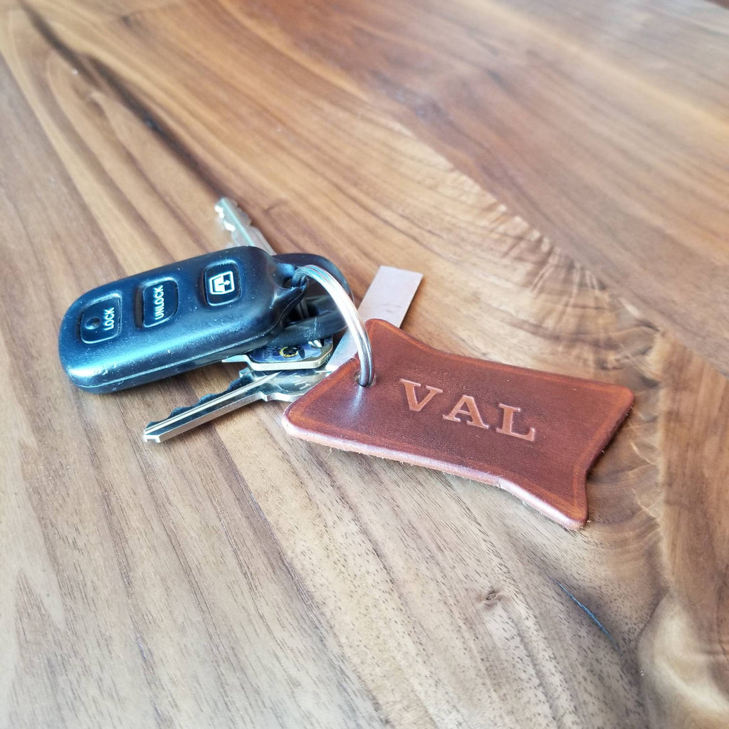 Mid Century Modern Leather Key Chain
