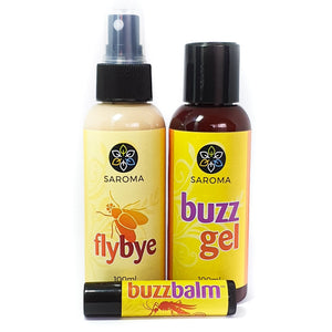 Natural insect bite remedy Buzzbalm & Buzz Gel & Flybye