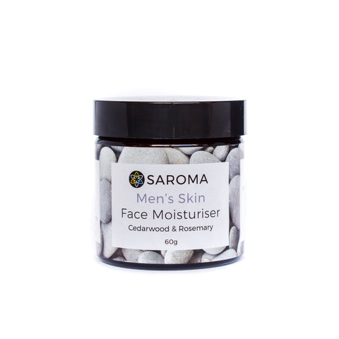 Saroma Men's Skin Moisturiser with Cedarwood & Rosemary 60g glass jar