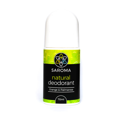 natural deodorant green, orange and palmarosa