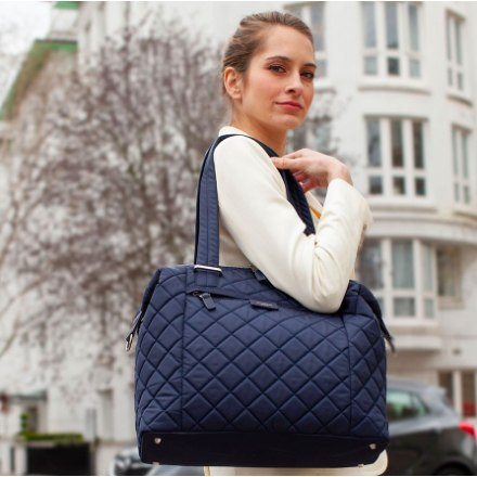 Bags - Storksak Stevie Quilt Tote In Navy