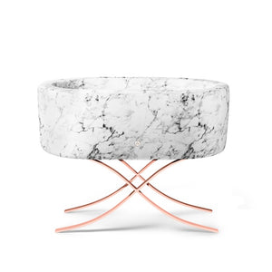 Bassinet - Aristot Bassinet Carrara Marble + Curule Rose Gold Base