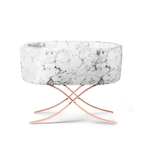 Image of Bassinet - Aristot Bassinet Carrara Marble + Curule Rose Gold Base