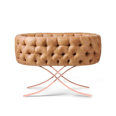 Image of Bassinet - Aristot Bassinet Tufted Faux Leather + Curule Rose Gold Base