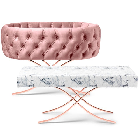 Image of Bassinet - Aristot Bassinet Tufted Velvet + Curule Rose Gold Base