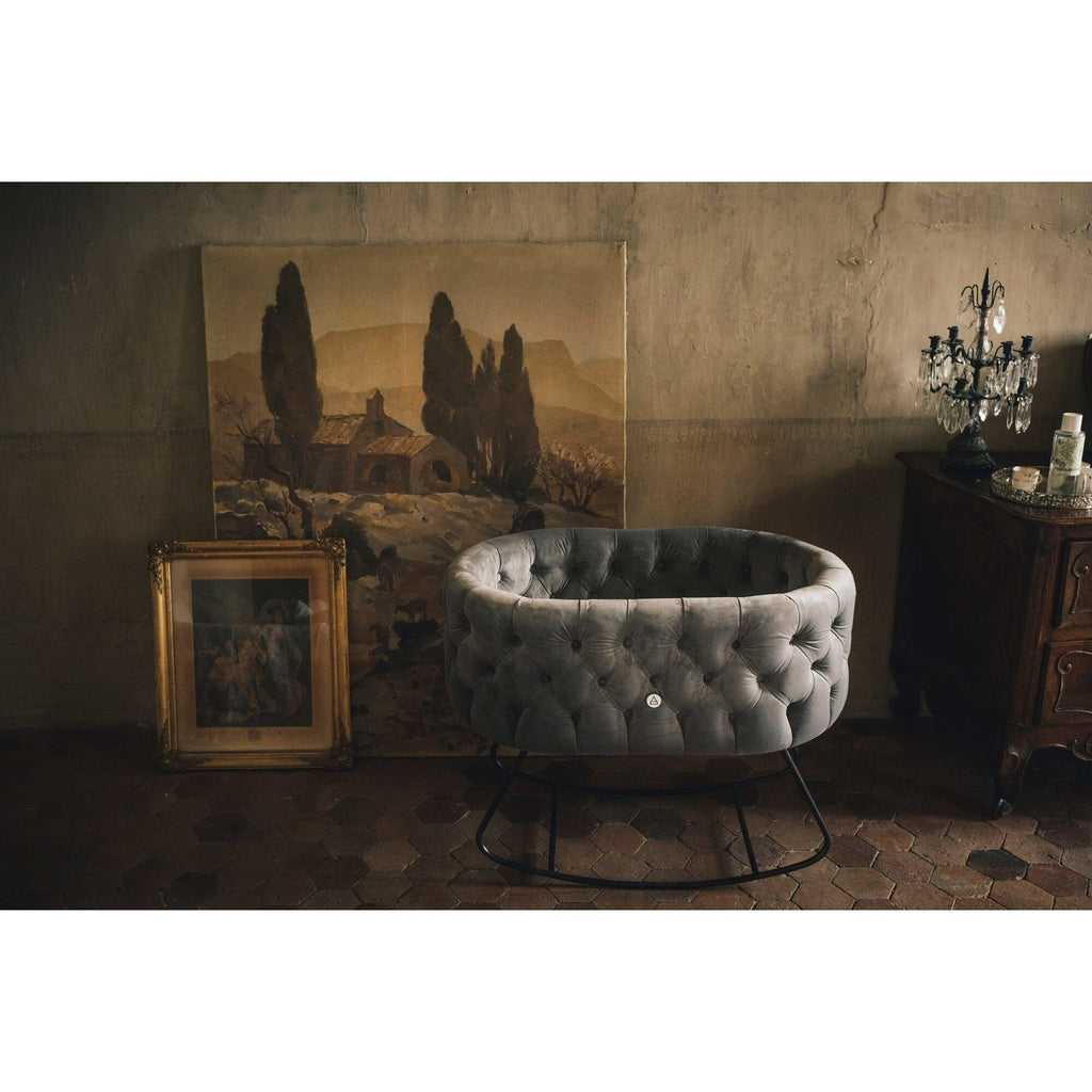 Bassinet - Aristot Bassinet Tufted Velvet + Dondolo Rocking Base