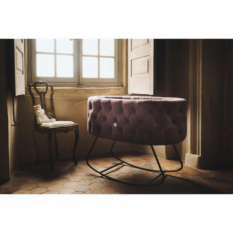 Image of Bassinet - Aristot Bassinet Tufted Velvet + Dondolo Rocking Base
