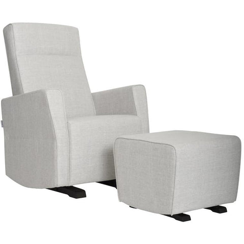 Glider - Dutailier Fogo Swivel Glider In Light Gray + Matching Ottoman