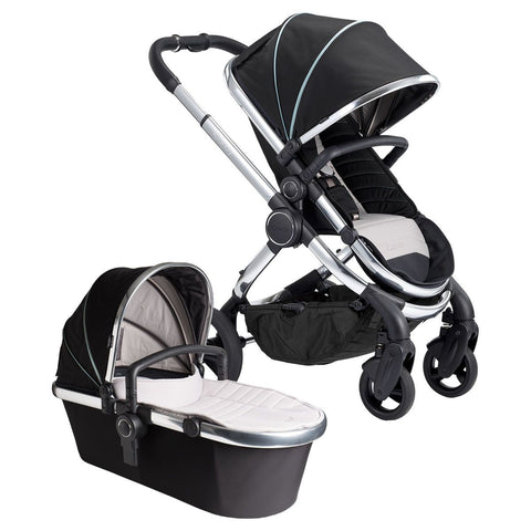 Stroller - ICandy Peach Stroller + Bassinet & Car Seat Adapters In Chrome/Beluga
