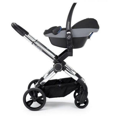 Image of Stroller - ICandy Peach Stroller + Bassinet & Car Seat Adapters In Chrome/Beluga