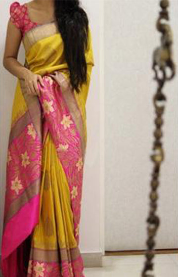 Alluring Yellow Color Soft Silk Designer Sarees FN1016