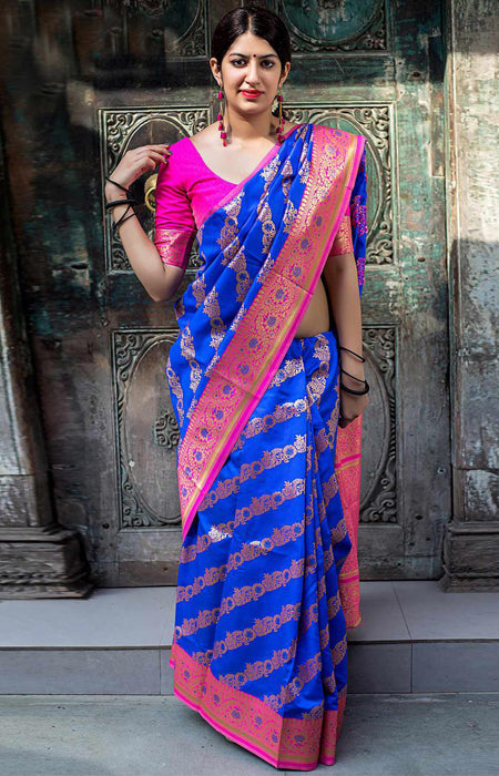 Admirable Blue and Pink Color Designer Soft Silk Saree SC7001