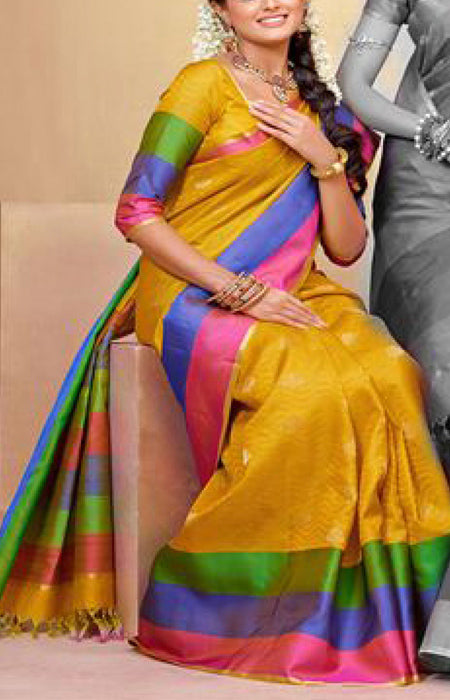 Unique Mluti Color Designer Soft Silk Saree SC3090