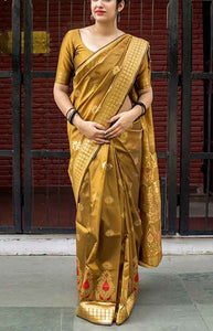 Stylish Gold Color Designer zarna silk saree FN2663
