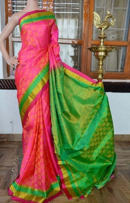 Gratifying Pink n Green Color Soft Silk Saree FN811