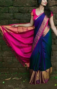 Royal Blue Color Soft Silk Designer Sarees FN101