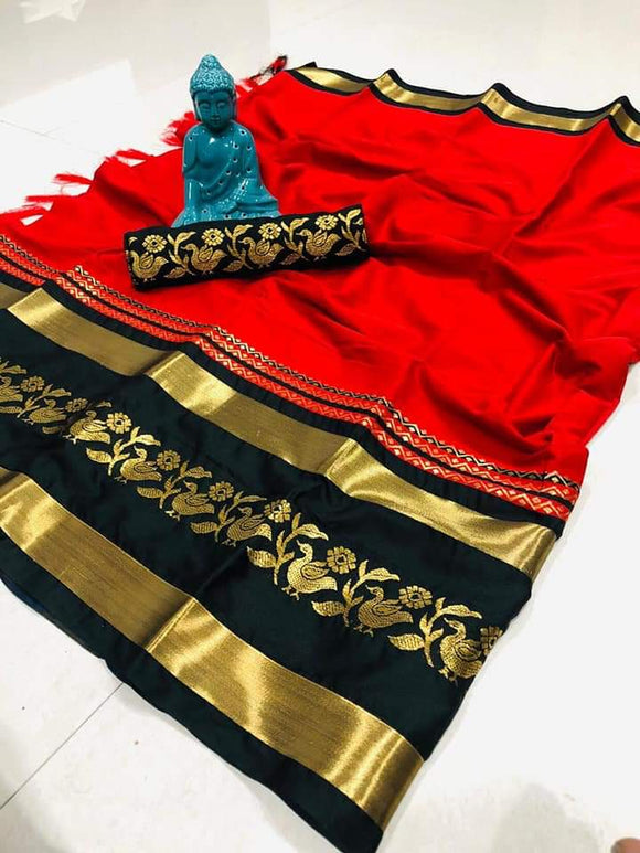 Fabulous Red Color Cotton Silk Saree WP-06