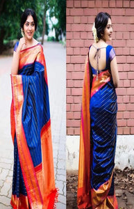Elegance Blue and Orange Color Soft Silk Designer Saree DL9005