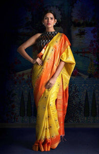 Fabulous Yellow and Orange Color Soft Silk Designer Saree DL9006