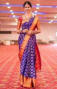 Elegant Blue and Red Color Soft Silk Designer Saree DL9021