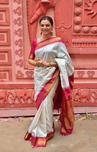 Heavy White and Red Color Soft Silk Designer Saree DL9024