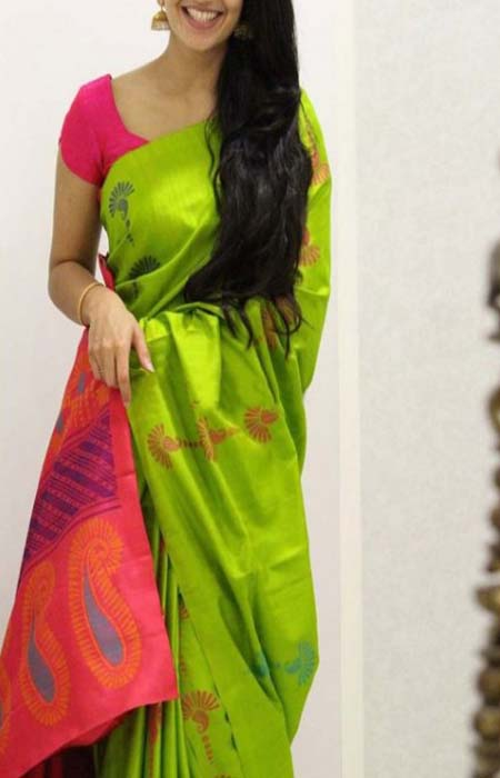 Superior Green And Pink Color Soft Silk Saree FN1108