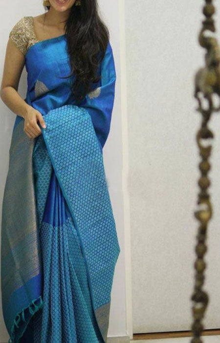 Dashing Blue Color Soft Silk Designer Saree FN1304