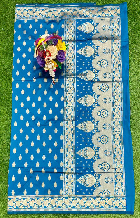 Magnetic Blue Color Designer Cotton Silk with Jacquard Border saree