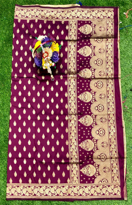 Adorning Hot Pink Color Designer Cotton Silk with Jacquard Border saree