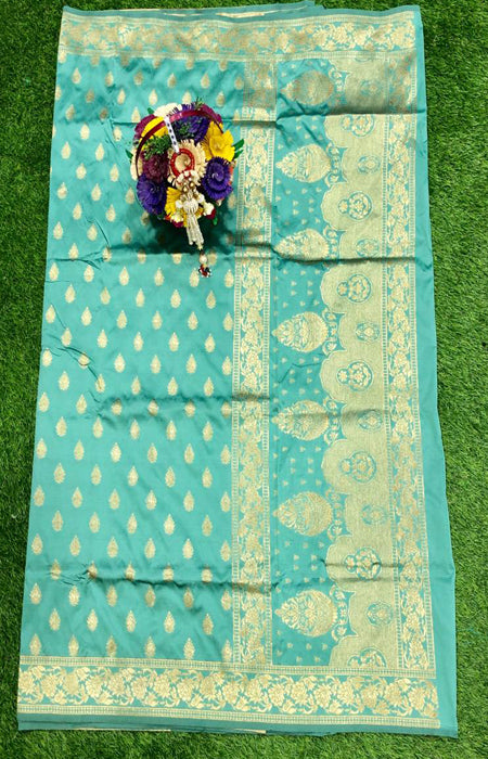 Beautiful Lite Blue Color Designer Cotton Silk with Jacquard Border saree