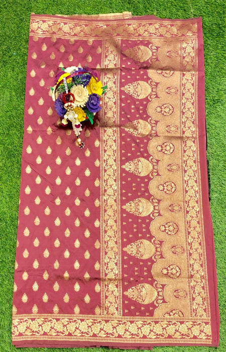 Dashing Red Color Designer Cotton Silk with Jacquard Border saree