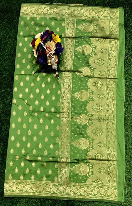 Elegant Green Color Designer Cotton Silk with Jacquard Border saree