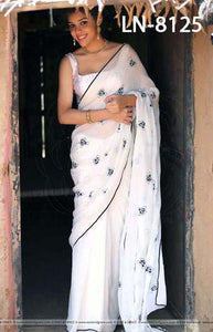 Majesty Black and Whit Color Linen Designer Digital Print Saree LN8125