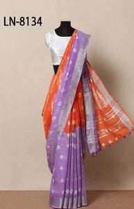 Superior Purple and Orange Color Linen Designer Digital Print Saree LN8134