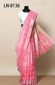 Classic Pink Color Linen Designer Digital Print Saree LN8136