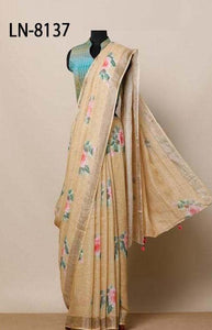 Delicate Orange Color Linen Designer Digital Print Saree LN8137