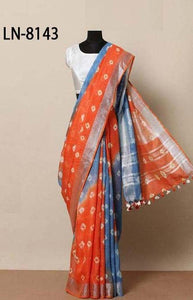 Lovely Red and Blue Color Linen Designer Digital Print Saree LN8143