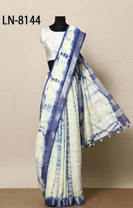 Exceptional Blue and White Color Linen Designer Digital Print Saree LN8144