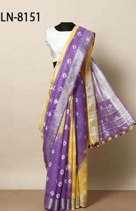 Contemporary Purple and yellow Color Linen Designer Digital Print Saree LN8151