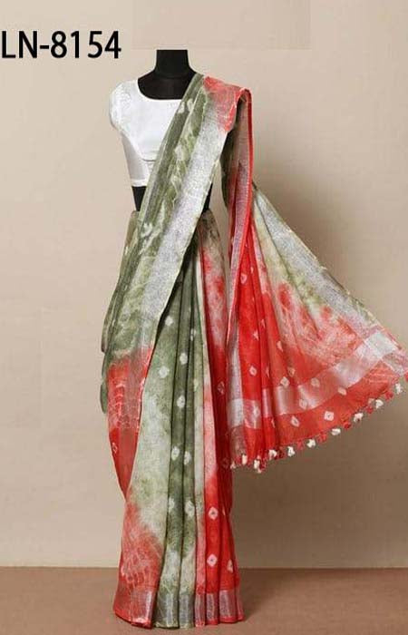 Good Looking Green and Red Color Linen Designer Digital Print Saree LN8154
