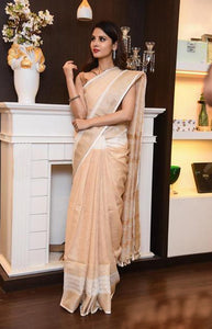 Embodied Cream Colour Linen Designer Digital Print Saree LN05