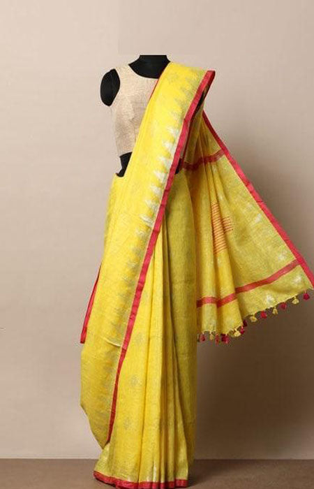 Appealing Yellow and Red Color Linen Designer Digital Print Saree LN8017