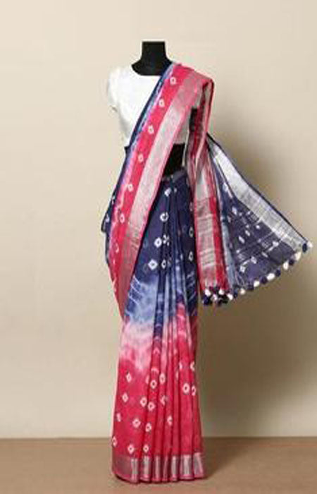 Fanciful Pink and Blue Color Linen Designer Digital Print Saree LN8022